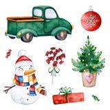 Φωτεινή συλλογή με το χριστουγεννιάτικο δέντρο, την καραμέλα, το φορτηγό, τα δώρα, το χιονάνθρωπο και περισσότερους διανυσματική απεικόνιση