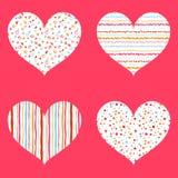 Φωτεινή συλλογή σχεδίων καρδιών άνευ ραφής Στοκ Εικόνα