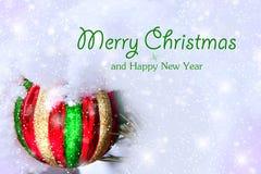 Φωτεινή σφαίρα χριστουγεννιάτικων δέντρων snowdrift στοκ φωτογραφία με δικαίωμα ελεύθερης χρήσης