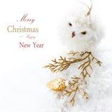 Φωτεινή σύνθεση Χριστουγέννων με τις διακοσμήσεις και το χιόνι (με ea Στοκ Εικόνα