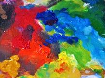 Φωτεινή χρωμάτων φωτογραφία παλετών παλετών μίξης λάδι-χρωμάτων κόκκινη μπλε Στοκ φωτογραφία με δικαίωμα ελεύθερης χρήσης