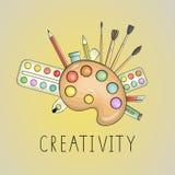 Φωτεινή χρωματισμένη απεικόνιση δημιουργικότητας τέχνης απεικόνιση αποθεμάτων