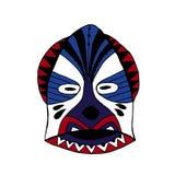 Φωτεινή χρωματισμένη μάσκα προσώπου για το τελετουργικό ύφος κινούμενων σχεδίων Στοκ Εικόνα