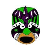 Φωτεινή χρωματισμένη μάσκα προσώπου για το τελετουργικό ύφος κινούμενων σχεδίων Στοκ Φωτογραφία