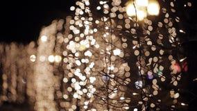 Φωτεινοί σηματοδότες νύχτας Defocused απόθεμα βίντεο