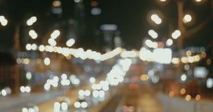 Φωτεινοί σηματοδότες νύχτας της μεγάλης πόλης απόθεμα βίντεο