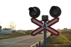 Φωτεινοί σηματοδότες, πέρασμα σιδηροδρόμου Στοκ Εικόνα