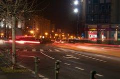 Φωτεινοί σηματοδότες τή νύχτα Στοκ Εικόνες