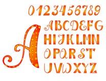 Φωτεινοί orange-yellow αλφάβητο και αριθμοί Στοκ Φωτογραφίες