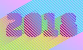 Φωτεινός αριθμός έτους λωρίδων 2018 νέος Αναδρομικό καθιερώνον τη μόδα σχέδιο ύφους Disco Παράλληλη γραμμή χρώματος νέου Δονούμεν διανυσματική απεικόνιση