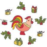 Φωτεινός διακοσμητικός κόκκορας με τα δώρα διανυσματική απεικόνιση