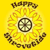 Φωτεινός κίτρινος ήλιος με το ευτυχές shrovetide κειμένων στο πορτοκαλί υπόβαθρο Ξύλινη ρόδα μέσα Εθνική εορτή Πρότυπο Στοκ Φωτογραφία