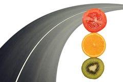 Φωτεινός σηματοδότης από τα λαχανικά και τα φρούτα πράσινος κόκκινος κίτριν&omicro Στοκ εικόνα με δικαίωμα ελεύθερης χρήσης