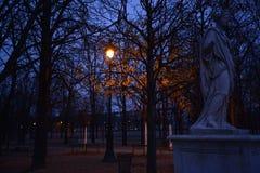 Φωτεινός σηματοδότης του Παρισιού με το άγαλμα Στοκ εικόνες με δικαίωμα ελεύθερης χρήσης