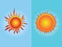 Φωτεινός χρωματισμένος απομονωμένος θερινός δύο ήλιος Διεθνής ημέρα του ήλιου EPS10 απεικόνιση αποθεμάτων