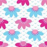 Φωτεινό άνευ ραφής σχέδιο άνθισης λουλουδιών θερινών μαργαριτών Τυποποιημένος αναδρομικός floral τυπώνει παντού Όμορφη μπλε ρόδιν ελεύθερη απεικόνιση δικαιώματος