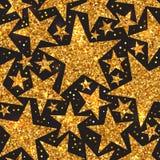 Φωτεινό άνευ ραφής σχέδιο διακοπών των χρυσών λαμπρών αστεριών Στοκ Εικόνα