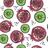Φωτεινό άνευ ραφής σχέδιο με συρμένα τα χέρι φρούτα ελεύθερη απεικόνιση δικαιώματος