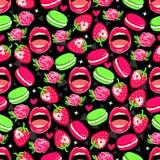 Φωτεινό άνευ ραφής σχέδιο με τα τριαντάφυλλα, τη φράουλα, macaroons, τα χείλια και τις καρδιές διανυσματική απεικόνιση