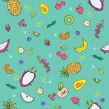 Φωτεινό άνευ ραφής σχέδιο με τα φρούτα ύφους doodle απεικόνιση αποθεμάτων
