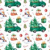 Φωτεινό άνευ ραφής σχέδιο με το χριστουγεννιάτικο δέντρο, καραμέλα, φορτηγό, δώρο, χιονάνθρωπος απεικόνιση αποθεμάτων