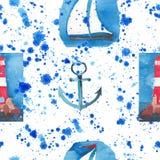 Φωτεινό άνευ ραφής σχέδιο με κόκκινο άσπρο φάρο βαρκών πλωτών αγκυρών τον μπλε στους βράχους Στοκ φωτογραφία με δικαίωμα ελεύθερης χρήσης