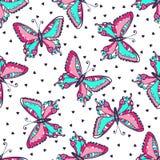 Φωτεινό άνευ ραφής σχέδιο πεταλούδων Συρμένη χέρι διανυσματική απεικόνιση πεταλούδων για το ύφασμα κλωστοϋφαντουργικό προϊόν, τύλ διανυσματική απεικόνιση