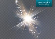 φωτεινό αστέρι Διαφανής λάμψτε ήλιος, φωτεινή φλόγα ελεύθερη απεικόνιση δικαιώματος