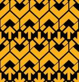 Φωτεινό αφηρημένο άνευ ραφής σχέδιο με τα κίτρινα βέλη Διανυσματικός τοίχος Στοκ Φωτογραφίες