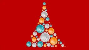 Φωτεινό αφηρημένο δέντρο έλατου από τις σφαίρες Χριστουγέννων
