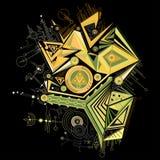 φωτεινό αφηρημένο γεωμετρικό σχέδιο, απομονωμένο μαύρο υπόβαθρο Ελεύθερη απεικόνιση δικαιώματος