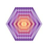 Φωτεινό αφηρημένο hexagon μωσαϊκών Mandala ουράνιων τόξων λογότυπων Στοκ Φωτογραφίες