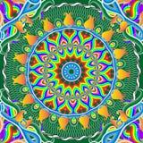 Φωτεινό διακοσμητικό floral διανυσματικό άνευ ραφής σχέδιο του Paisley Ακμάστε διαμορφωμένος γύρω από τα mandalas Ζωηρόχρωμα λουλ απεικόνιση αποθεμάτων
