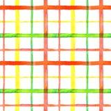Φωτεινό ελεγμένο σχέδιο σχεδίων watercolor άνευ ραφής στην κόκκινη, πράσινη και κίτρινη παλέτα χρωμάτων ελεύθερη απεικόνιση δικαιώματος