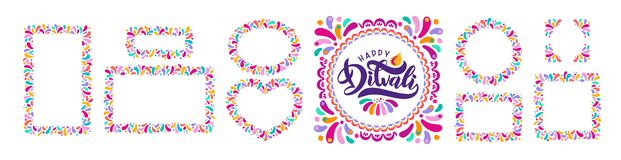 Φωτεινό εορταστικό κείμενο Diwali, σύνολο διακοσμητικών πλαισίων rangoli διακοσμήσεων, σύνορα Ινδικό φεστιβάλ Divali εγγραφής ελεύθερη απεικόνιση δικαιώματος