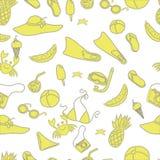 Φωτεινό, θερινό άνευ ραφής σχέδιο Διαφορετικές λεπτομέρειες για τη χαλάρωση στην παραλία, κίτρινα αντικείμενα σε ένα άσπρο υπόβαθ Διανυσματική απεικόνιση
