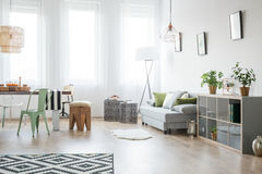 Φωτεινό καθιστικό με τον καναπέ στοκ εικόνες