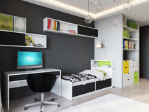 Φωτεινό και άνετο δωμάτιο παιδιών ` s σύγχρονο αστικό σύγχρονο sty Στοκ φωτογραφία με δικαίωμα ελεύθερης χρήσης