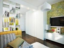 Φωτεινό και άνετο δωμάτιο στο σύγχρονο ύφος Στοκ εικόνα με δικαίωμα ελεύθερης χρήσης