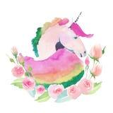 Φωτεινό καλό χαριτωμένο μαγικό ζωηρόχρωμο σχέδιο νεράιδων του μονοκέρου με το χαριτωμένο όμορφο watercolor λουλουδιών κρητιδογραφ διανυσματική απεικόνιση