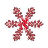 Φωτεινό κομψό snowflake που απομονώνεται στο άσπρο υπόβαθρο Εορταστικό στοιχείο Χριστουγέννων στο δικτυωτό ύφος κοσμήματος τρισδι διανυσματική απεικόνιση