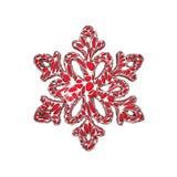Φωτεινό κομψό snowflake που απομονώνεται στο άσπρο υπόβαθρο Εορταστικό στοιχείο Χριστουγέννων στο δικτυωτό ύφος κοσμήματος τρισδι απεικόνιση αποθεμάτων