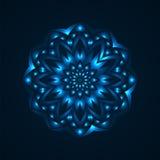 Φωτεινό κυκλικό σχέδιο νέου σε ένα σκούρο μπλε υπόβαθρο Στοκ Φωτογραφίες