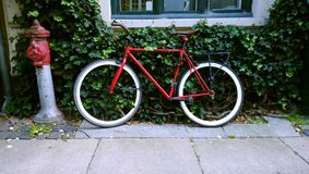 Φωτεινό κόκκινο ποδήλατο που κλίνει ενάντια στον τοίχο, που καλύπτεται με τον κισσό Δίπλα στον κόκκινο στυλοβάτη και το παράθυρο στοκ φωτογραφία