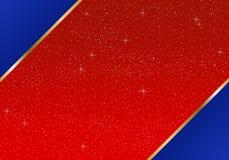 Φωτεινό κόκκινο υπόβαθρο και μπλε τρίγωνο γωνίες με μια χρυσή κορδέλλα με τα καμμένος αστέρια με τα κίτρινα φω'τα Σκηνικό με το φ στοκ φωτογραφία με δικαίωμα ελεύθερης χρήσης