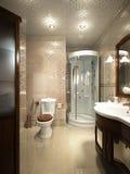 Φωτεινό κλασικό παραδοσιακό εσωτερικό δωματίων και λουτρών πλυντηρίων στοκ φωτογραφία με δικαίωμα ελεύθερης χρήσης