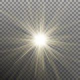 φωτεινό λάμποντας αστέρι Έκρηξη έκρηξης Διαφανής επίδραση EPS 10 διάνυσμα Στοκ Εικόνες