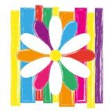 Φωτεινό λουλούδι, λογότυπο ζωηρόχρωμη απεικόνιση Στοκ Εικόνα