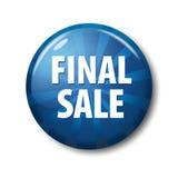 Φωτεινό μπλε στρογγυλό κουμπί με την τελική πώληση ` λέξεων ` Στοκ Εικόνες