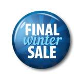Φωτεινό μπλε στρογγυλό κουμπί με την τελική χειμερινή πώληση ` λέξεων ` Στοκ Φωτογραφία